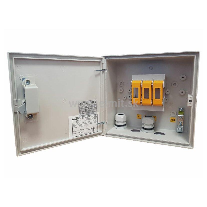 11a2a7573651e Prípojková skrinka na stĺp s energetickým zámkom so stupňom ochrany IP2X po otvorení  dverí